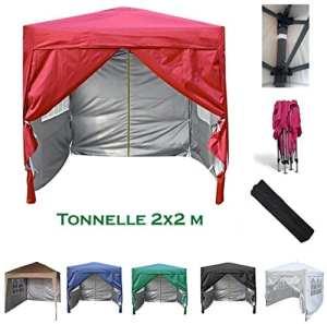 mcc direct Gazébo/Pavillon/Tente/Tonnelle/Auvent Pliable résistant à l'Eau, 2x2m Couche protectrice argentée (Rouge)