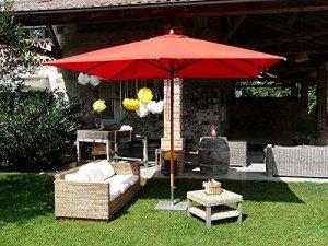 PEGANE Parasol carré en tessu PolyMa, Couleur Bordeaux – Dim : H 280 x D 300×300/ 8 Baleines