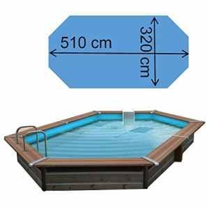 Piscine Bois Waterclip TASOS 510x320x147 cm hors sol hexagonale