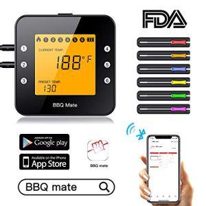 Tvird Thermomètre de Cuisine Grand Ecran LCD, Température Préréglée et Mode de Minuterie Intelligent Thermomètre à Viande, Barbecue, Pâtisserie, Lait, Vin, BBQ et Eau Chaude – Noir