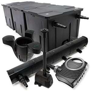 WilTec Kit de Filtration Bassin 90000l Stérilisateur UVC 72W 80W Pompe éco Fontaine Ecumeur