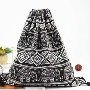Yesiidor Bohemia Sac à cordon Imprimé éléphant Sac de rangement Vêtements Organiseur de maquillage Sac de voyage Sacs à dos