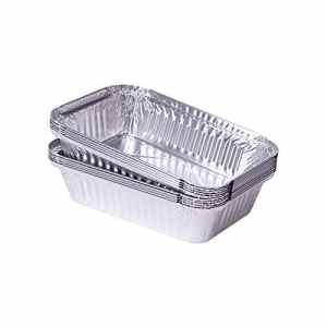 100 Barquettes rectangulaires en aluminium de 0,8 l 218 x 155 x 38 mm-barquettes alimentaires