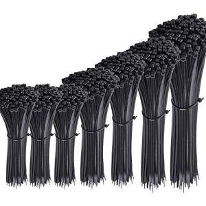 Austor 700 Pièce Colliers Nylon de Serrage de Noir, Longueurs 4″/ 6″/ 8″/ 10″/ 12″