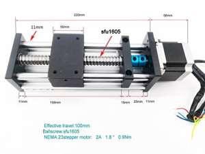 Electric Linear Guide 1605 Balle de golf avec visière coulissante et moteur CNC Stage Actuator 100 mm