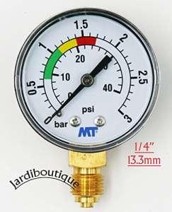 jardiboutique Manomètre MT avec repère Rouge et Vert – ABS manomètre de Filtre a Sable Piscine 3 Bars – Filetage 1/4″