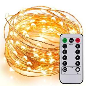 Kohree Guirlandes Lumineuses Pile LED Etanche Imperméable 6M 60 leds avec Télécommande Fil cuivre 8 Mode Elairage Blanc Chaud