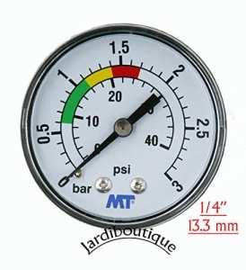 Manomètre MT pour filtre piscine fixation arrière raccord axial Manomètre filetage 1/4″ – MT -Jardiboutique