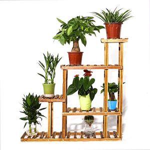 UNHO Porte Pot de Plante en Bois Massif Etagère à Fleur Rustique avec 5 niveaux pour Plantes Fleurs ou Décorations Echelle Décorative Idéal pour Jardin Balcon Terrasse 95 x 25 x 96.5cm