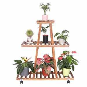UNHO Porte Pot de Plantes à roulettes Bois Etagère à Fleur Rustique en Forme de Tour 3 Niveaux d'amplement d'espace pour Pots Plantes et Objets décos Idéal pour Jardin Balcon 90 x 25 x 90.5 cm