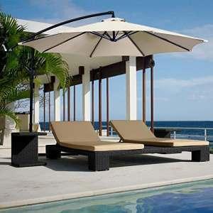 Yellowshop– Parasol de jardin, diamètre 3 x 3 m, déporté, en acier, pour extérieur, piscine, tonnelle, terrasse, bar, hôtel et balcon-