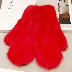 Yesiidor Gants d'hiver mignon complète Gants à doigts Main Porter Chauffe-mains imitation fourrure de lapin Moufles, 6#, As description