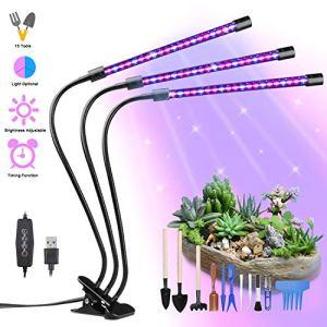 Yokunat Lampe de Plante 60 LED 30W Lampe de Croissance à 3 Têtes 360° Éclairage Horticole avec 15 Outils de Jardinage, 3 Modes de Luminosité, 5 Niveaux Dimmables et 3 Modes de Minuterie (3/6/12H)