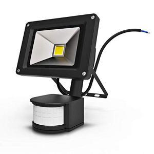 Anten 10W Projecteur LED Détecteur de Mouvement Spot Éclairage LED Extérieur IP65 avec Détecteur Lampe de Sécurité Sensor Blanc Froid 6000K Couleur Noir