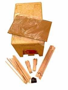 Beekeeping Supplies UK Poly Nuc avec mangeoire, Cadres et Fond de Teint en Cire – 6 Cadres en polynuc avec 6 Cadres de Hoffman Auto-espacants DN4 et Fond de Teint en Cire de Couvrir.