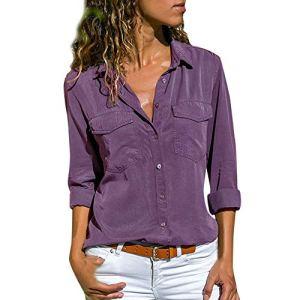 Chemise Femme Doux Chic Manche Longue Boutton Poche Casual Shirt Col V Tee Top Travaille ELégant Blouse Mode Quatre Couleurs et Huit Tailles S~5XL