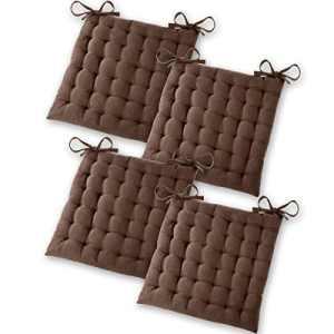 Gräfenstayn® Set de 4 Coussins d'Assise Coussins de Chaise 40x40x5cm pour intérieur et extérieur – 100% Coton – Différents Coloris – Rembourrage épais (Marron)
