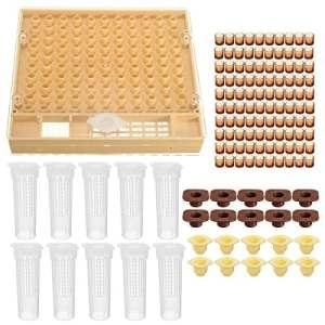 HITSAN 131pcs Abeille Reine d'élevage Système Outil Apiculture Coque Lot Cupkit Box Cell Tasses Complet