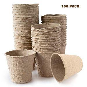 Housolution Pots de Semis en Fibre Biodégradable (100 Pièces) 3 Pouces, Plateau Pour Graines de Jardinage – Kaki