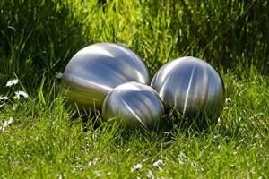 Köhko Ensemble de 3 Boule décorative Bille en acier inoxydable mat balle flottante pour jardin ou étang ø 6-12-18 CM