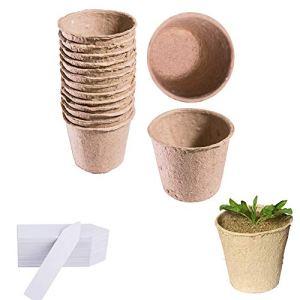 Parc 120pcs rond 6cm Fibre Pots biodégradables de graines de semis et 120 pcs Petite étiquettes pour plantes Plastique 1 x 5 cm