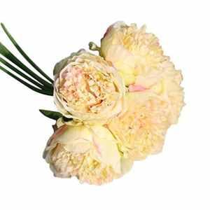 QHJ Artificielle Bouquet Têtes Pivoine Romantique Artificielle Feuille Maison Mariage Party Decor Fleur Artificielle de Haute qualité de Couleur Rétro européenne de Pivoine de Noyau (B)