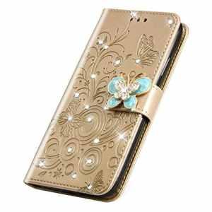 SainCat Coque Xiaomi Redmi 6 Pro, Ultra Slim Portefeuille Bling Flip Cuir Paillette Strass avec Glitter Papillon et Fleur Fonction Support Antichoc Coque pour Xiaomi Redmi 6 Pro-d'or