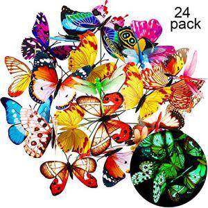 Shappy 20 Pièces Papillons de Jardin et 4 Pieces Libellules de Jardin Ornements de Jardin pour Décoration de Terrasse Patio, Totalement 24 Pièces (Lumineux)