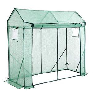 SONGMICS Serre de Jardin, avec Porte Enroulable et Fenêtre, pour Légumes, Tomates, Potager, Dimensions 200 x 77 x 169 cm, Vert GWP21GN