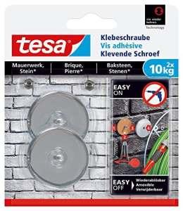 tesa 77909 – Lot de 2 Vis adhésives rondes pour brique 10 Kg