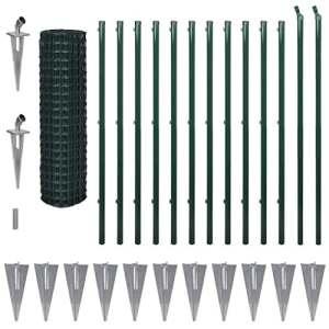 vidaXL Jeu de Clôture avec des Piquets de Sol Jardin 25 x 1,7 m Acier Vert