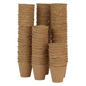 WARKHOME Lot de 96 6 cm Ronds Pots Biodégradables de Tourbe Plantation en Fibre Pots de Rempotage Graines Jardin Fleur boutures