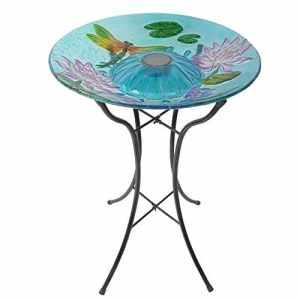 Abreuvoir solaire extérieur oiseaux déco jardin bain fontaine en verre avec support métal Peaktop 3208900