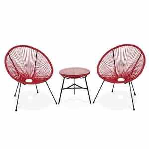 Alice's Garden – Lot de 2 fauteuils Acapulco Forme d'oeuf avec Table d'appoint – Rouge Framboise – Fauteuils 4 Pieds Design rétro, avec Table Basse, Cordage Plastique