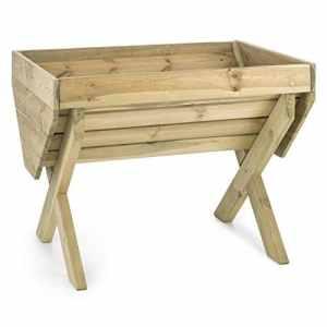 Blumfeldt Altiplano 100 – Jardinière de 100x76cm en bois de pin scandinave cértifié FSC (foresterie soutenable) pour culture potagère sur balcon ou terrasse – bâche incluse