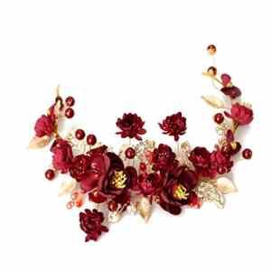 Couronne de fleurs Couronne Bandeau Coiffe rétro dîner Rouge Accessoires de Mariage &Guirlande de Fleurs
