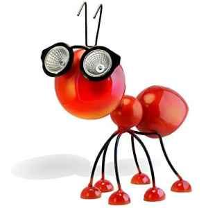 Décoration de jardin à énergie solaire, statuette en métal en forme de fourmi rouge avec lumières LED, idée de cour, terrasse et patio, figurine d'art extérieur très durable et imperméable