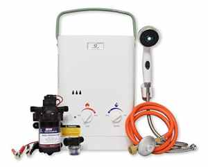 Eccotemp CEL5 Portable Water Heater Bundle 1.5 GPM, w/EccoFlo Diaphragm 12V Pump and Strainer (37Mbar)
