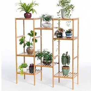 JI BIN SHOP® Ensemble de balançoire simple moderne cadre de fleurs en bois massif multi-couche multi-échelle de viande – style bois en bambou salon étagère en plein air ++ ( taille : Combination 4+4 )