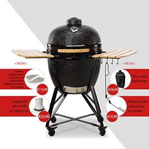 KamadoBono Media 20″ 52 cm Barbecue en céramique avec système Dual Zone