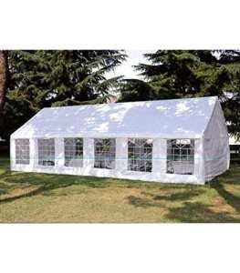 Levante Chapiteau rectangulaire 6x 12m en bâche PVC ignifugé Blanc avec Structure en Fer