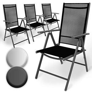 Miadomodo Lot de Aluminium Chaises de Jardin | Pliante, avec Accoudoirs, Dossier Haut Ajustable sur 5 Positions | Fauteuil Inclinable Sièges Confortables Terrasse Camping (Lot de 4, Grisfoncé)