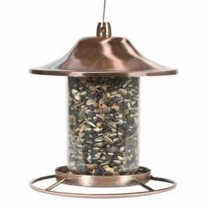 Perky-Pet Mangeoire à oiseau Panorama Lanterne cuivrée Anti écureuil avec perchoir circulaire et fermeture sécurisée pour décorer votre jardin – Capacité max. 900g de graines #312C