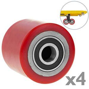 PrimeMatik qr66-vces Roue pour transpalette Rouleau de polyuréthane de 80x 60mm 700kg 4-Pack (qr66), Rouge