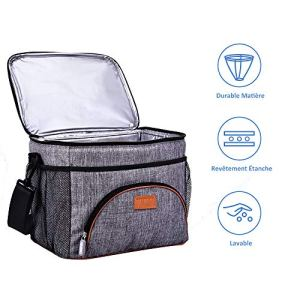 TOMOUNT Sac Isotherme Repas Grand Capacité 16L Sac Glacière à Déjeuner Portable pour Bébé Biberon Travail Pique-Nique Lunch Box – Gris