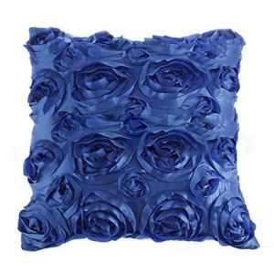 Xinguan Bleu Rose satiné Fleur Lit canapé carré Taie d'oreiller Coussin Oreiller Coque