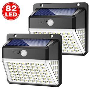 Yacikos Lampe Solaire Extérieur 82 LED, Éclairage Solaire avec Détecteur de Mouvement, Lumière Solaire Étanche IP65, Spot Solaire Sans Fil avec 270° d'Illumination [2 Packs]