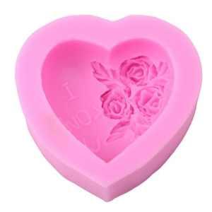 Yesiidor Cœur de roses Moule à Cake Moule à savon en silicone pour décoration de gâteaux Cupcake Moule 3d