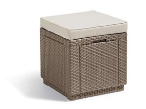 ALLIBERT Tabouret, Cube Cushion, Cappuccino/Sable, 42 x 42 x 45 cm, 233817