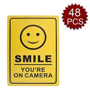 aspire Smile You're on Camera Panneau de vidéosurveillance en aluminium pour maison, maison et entreprise, Smile/48pcs, 10″ W x 14″ L